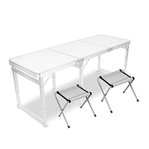 Table pliante YXX Petite carrée 6 Pieds et chaises avec poignée et Pieds réglables en Aluminium de Taille Pliage en Bois et Bureaux d'ordinateur pour Camper