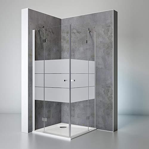 Schulte Duschkabine Eckeinstieg Youngline, 90 x 90 cm, 190 cm, 5 mm Sicherheits-Glas Depoli-light, alu-natur, Montage auf Duschwanne oder Fliese