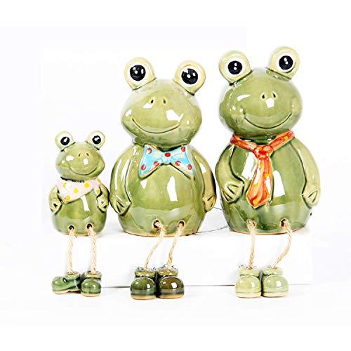 Wohlstand Dekofigur Gartenfigur Frosch Froschkönig 15 cm/21cm groß aus Keramik grün, witzige Figur Märchenfrosch als Garten Deko in Stein Optik