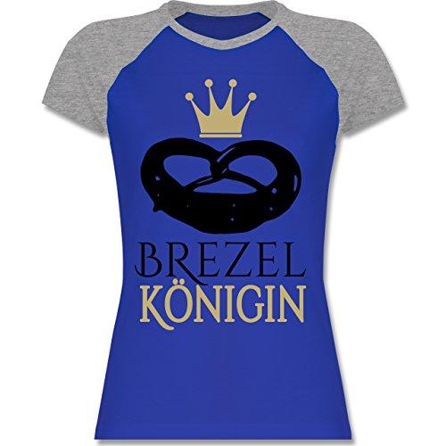 Shirtracer Oktoberfest Damen - Brezel Königin - Zweifarbiges Baseballshirt/Raglan T-Shirt für Damen Royalblau/Grau meliert