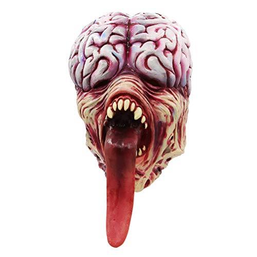 JHSHENGSHI Licker Maske, Horror Lange Zunge Gehirn Maske für Halloween Kostümparty Cosplay Halloween Mask Helmet Props