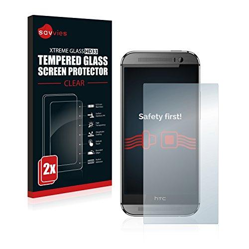 Savvies Panzerglas kompatibel mit HTC One M8 / M8s [2er Pack] - Echtglas Schutzfolie 9H