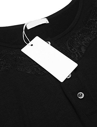 Unibelle Damen Baumwolle Kurzarm Nachtwäsche Zweiteiler Pyjama Set 1_Schwarz