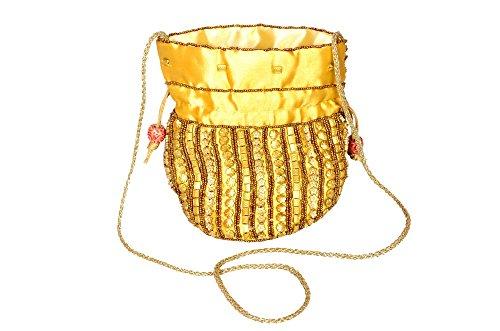 Vibgyor Vibes Rajasthani Ethinic Handicraft Bucket/Potli Bag-Golden Colour