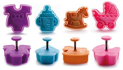 SIDCO ® Ausstechförmchen 3D Plätzchenausstecher Fondant Marzipan Baby Geburt Kuchendeko (Kinderwagen Ausstecher 4)