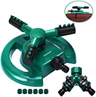 WISDOMWELL Wisdom Garden Sprinkler Automatic Lawn Water Sprinkler 360 Degree 3 Arm Rotating Sprinkler System for...