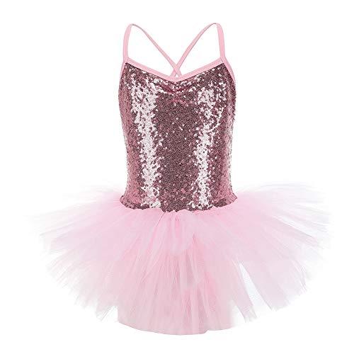 Blaward Ragazze Costumi di Danza Metallico Balletto Body da Danza per Bambina Classica Brillante Tutu Vestito
