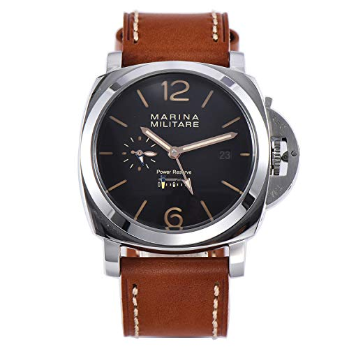 PARNIS-MM Watch Deutsche Edition Herrenuhr Automatik-Uhr 47mm Edelstahl-Gehäuse Leder Mineralglas 5BAR Seagull ST36 Uhrwerk Gangreserveanzeige Datum (Herren-uhren Handaufzug)