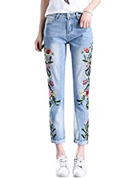 ZiXing Damen Jeanshose Blumen Stickerei Skinny Jeans Straight Fit