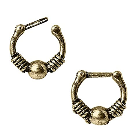 Antikes Gold überzogene Spule und Kugel 1,2mm x 6mm Septum Clicker Nasenring Chirurgenstahl (Opal Gold Überzogenes)