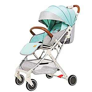 AIFCX Baby Stroller Bassinet Pram Carriage Stroller,All Terrain City Select Pushchair Stroller Compact Strollers,Green   12