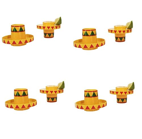 Sombrero Slammers Schnapsgläser (8 Stück) - Sombrero Hut Tequila Schnapsgläser Lustige Schnapsgläser für Erwachsene Partygeschenke