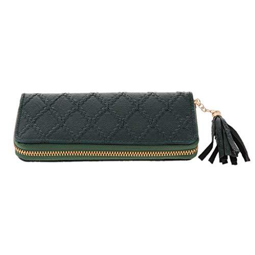 IPOTCH Damen PU Leder Lange Geldbörse Geldbeutel Clutches Mädchen Portemonnaie Damenhandtasche mit Reißverschluss - Grün -