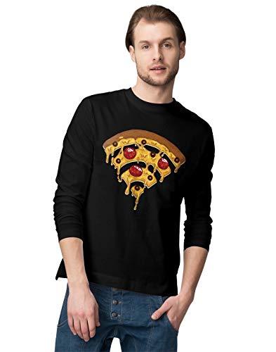 BLAK TEE Funny Pizza Wi Fi Illustration Herren Langarmshirt S (Dominos Bekleidung Pizza)