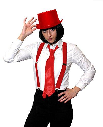 ILOVEFANCYDRESS Gangster KOSTÜM VERKLEIDUNGS ZUBEHÖR Set = 4 TEILIGES ROTES Set=SCHWARZEN BOB PERÜCKE+ HOSENTRÄGERN+Krawatte +Zylinder=Fasching Karneval Halloween Party