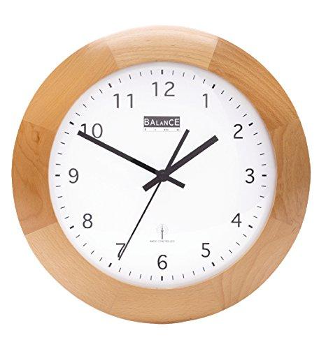 Funk Holz Wanduhr - Quarz - 32cm Designer Uhr rund Küche / Büro etc- braun Farbe Wireless-wand-uhr