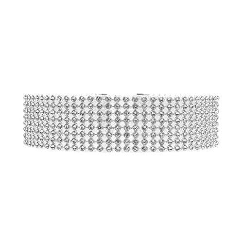 EROSPA® Halsband Strass Damen - Halskette Choker Kropfband - silberfarben (8 - reihig)