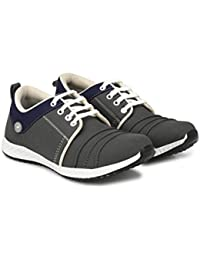 Corstyle Stylish Grey Casual Office Corporate Party Wear Canvas Lace-Up Derby Shoes For Men