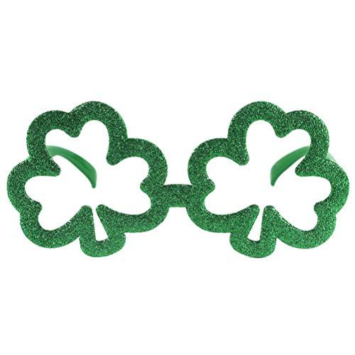 BESTOYARD Green Clover Glasses Frame St. Patrick's Day Shamrock Glasses Glitter Brillen Requisiten für St. Patrick's Day Party Favors