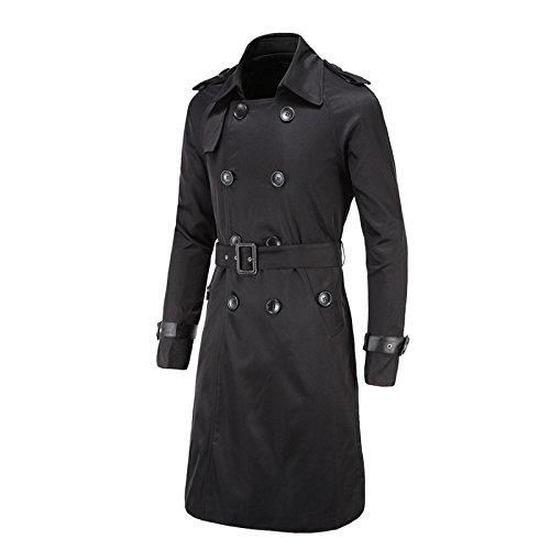 Elonglin Herren Herbst Winter Lange Mantel mit Gürtel Trenchcoat Zweireiher Slim Fit Schwarz DE XL (Asien XXXL)