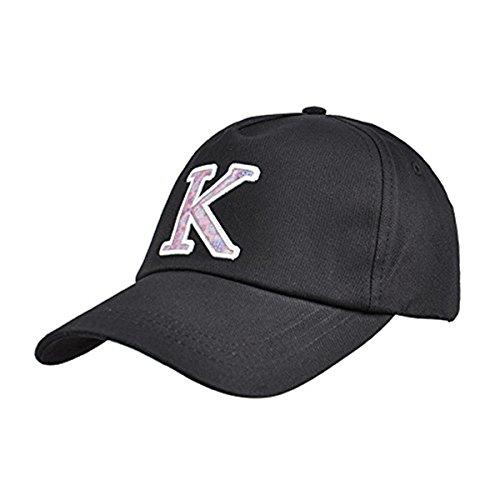 Kenmont Les hommes d'été 100% coton couleur unie visière réglable casquette de baseball chapeau (22.83inches, noir)