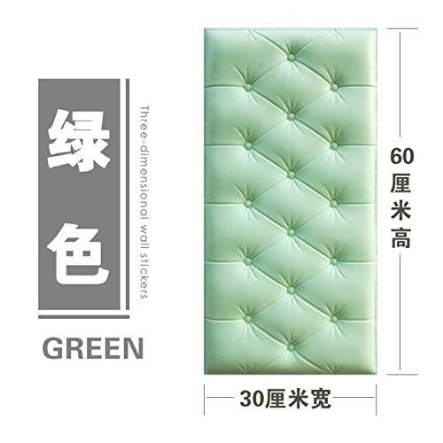 ZMLI Weiches Paket 3D Stereo Wandaufkleber Wohnzimmer Schlafzimmer Tv Hintergrund Wand Wasserdicht Selbstklebende Tapete Fliesenaufkleber 3D Wandaufkleber Grün 30 * 60 cm