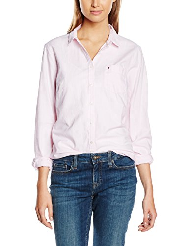 Tommy Hilfiger Damen Regular Fit Bluse SITHACA STP Shirt LS W2, Gr. 34 (Herstellergröße: 4), Rosa (Light Pink/Classic White Stripe 902)