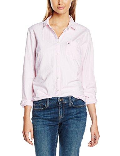 Tommy Hilfiger - Camicia - elastico in vita - Maniche lunghe  - 1 -  donna, LIGHT PINK/ CLASSIC WHITE STRIPE (LIGHT PINK/ CLASSIC WHITE STRIPE), 44 (Taglia produttore: 14)