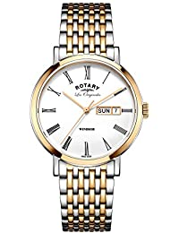 Rotary Men's Quartz Watch with White Dial Analogue Display and Two Tone Stainless Steel Bracelet GB90155/01