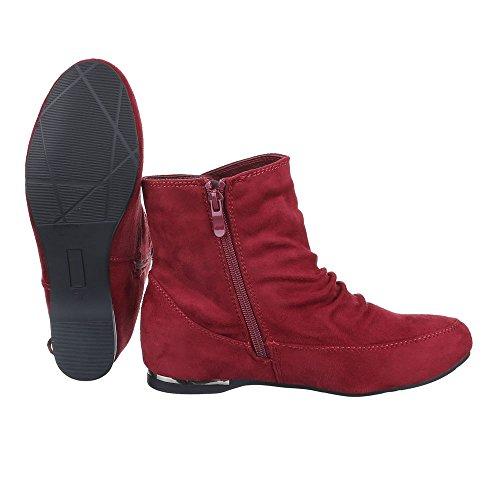Komfort Stiefeletten Damen Schuhe Schlupfstiefel Blockabsatz Warm Gefütterte Reißverschluss Ital-Design Stiefeletten Weinrot