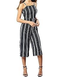 Frauen Monochrom Streifen Riemchen Damen Hosenrock-Overall