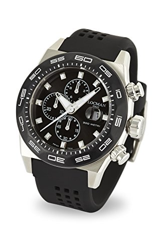 Locman Italy Men's Analog Quartz Watch with Rubber Strap 0217V1-0KBKNKS2K