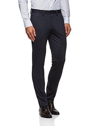 oodji Ultra Uomo Pantaloni Slim Fit con Risvolti, Blu, IT 48 / EU 44 (L)