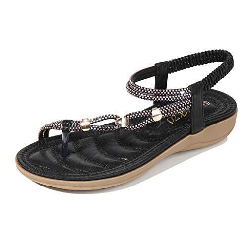 Frauen Boho Strass niedrigen Absätzen Strand Schuhe Sommer Sandalen Bequeme Wanderschuhe Slingback Damen Plateauschuh mit Clip Toe Größe 4,5-7,5 UK Demonia 4.5