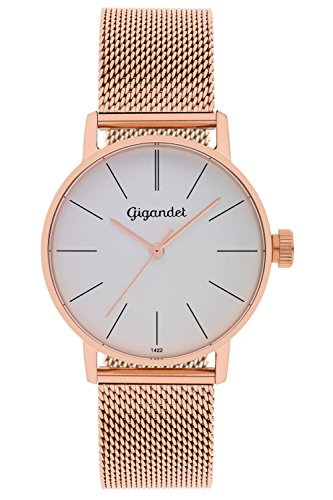 Gigandet Women's Quartz Wrist Watch Minimalism Analogue Stainless Steel Mesh Bracelet Rose Gold Silver G43-008