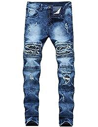 Versaces Les Hommes Taille Moyenne Jeans Coupe Slim Petite Droite Trou du  Genou Élasticité Loisirs Pantalon d9afbb872f7