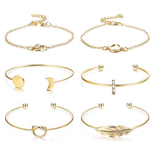 Besteel 6 Stücke Öffnen Manschette Armband für Frauen Mädchen Verstellbare Draht Armreif Stapelbar Wrap Armband Simple Feder Mond Knoten Armband Set Mode Geschenk - Al-draht