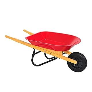 Outsunny Kinder Metall Cargo Garten legen verzinkt Schubkarre Spielzeug Tools Transporter Griff Trolley Imagination Game Play Holz Griffe Gummi Rad rot