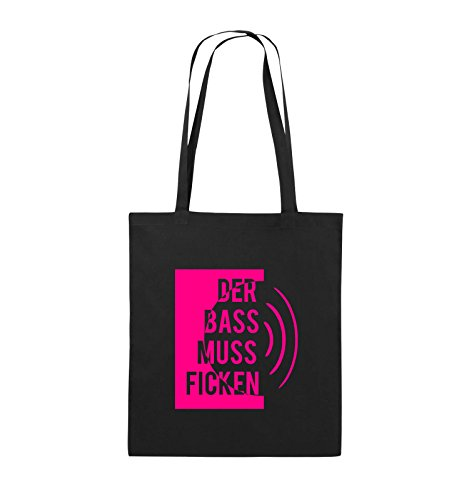 Comedy Bags - DER BASS MUSS FICKEN - Jutebeutel - lange Henkel - 38x42cm - Farbe: Schwarz / Pink Schwarz / Pink