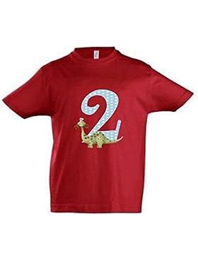 wolga-kreativ T-Shirt Dino 2 Geburtstag Gr. 86-94 cm Dinosaurier Geburtstagsshirt rot