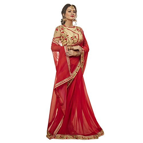KVS FAB Georgette Red And Beige Color Embroidered Saree