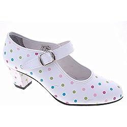 SEVILLA'S. Zapato Sevillana a Lunares con Cierre de Hebilla para Niña - Modelo 23, Color, Talla 26