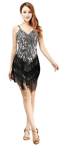 BELLYQUEEN Robe Gatsby sans Manche Femme Déguisement Charleston Costume Années 1920 Vintage Robe Danse Latine Salsa Argent
