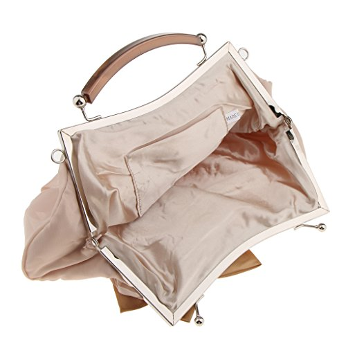 Gazechimp Damen Tasche mit Blume Clutch Bag Handtasche Party Hochzeit Abendtasche Kettentasche Umhängetasche - Aprikose, 28 x 15 cm Aprikose