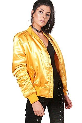 Damen Senf Jessica MA1-Bomberjacke in Satin-Optik Senf
