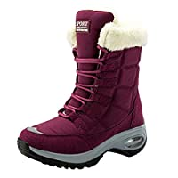 WANONE Snow Boots for Womens Waterproof Warm Fur Lined Booties Ladies Winter Boots Outdoor Non-Slip Flat Shoes Red Size 5