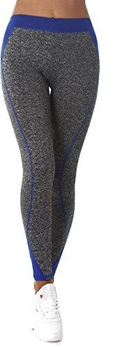 Donna di forma fisica dei pantaloni di sport e tempo libero pantaloni benessere Leggings conici a contrasto di colore elastico in vita Blu L-XXL