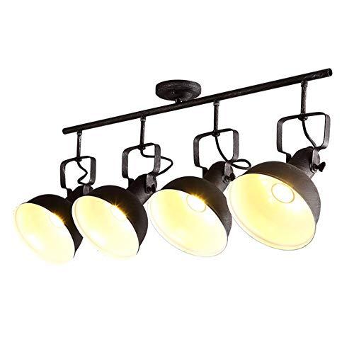 Track-Deckenleuchte Retro E27 Deckenleuchte Vintage Spotleuchte(4- Flammig) Design Rustikal Lampenschirm aus Metall Deckenlampe,Schwarz Up- and Down-Light Spotleuchte (98CM*35CM) -