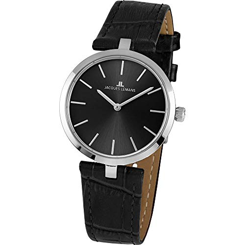 Jacques Lemans Women's Milano 34mm Black Leather Band Quartz Watch 1-2024A