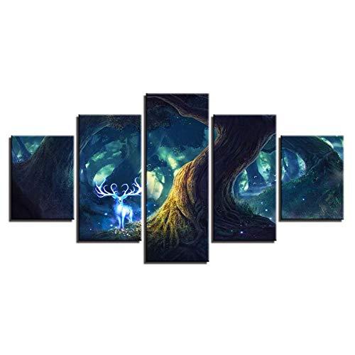 KKXXWLH Leinwand Gemälde Wohnzimmer Wandkunst Dekor 5 Stücke Baum Hirsche Gott Poster Wald Tier Dollar Fee Hd Drucke Bilder Rahmen (55 Dollar)